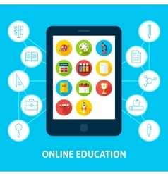 Online education tablet concept vector