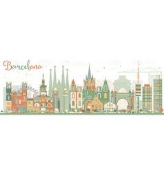 Abstract Barcelona Skyline with Color Buildings vector image