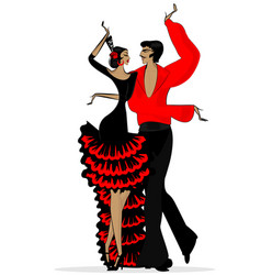Abstract flamenco couple in black red vector