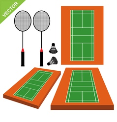 Badminton and court vector image