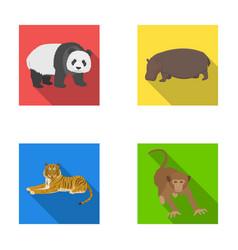 Bamboo bear hippopotamus wild animal tiger vector