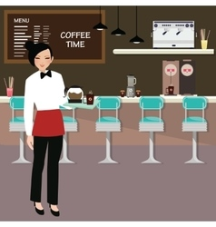 Cafe waitress holding coffee serve with interior vector