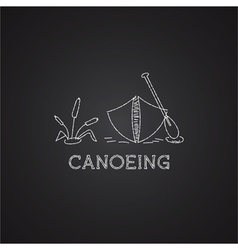 Canoe logo and icon chalk drawing design on black vector