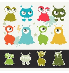 Collection of cute cartoon little monsters vector image