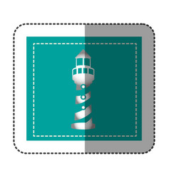 Color sticker frame with tower of lighthouse vector