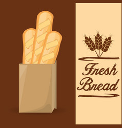Fresh bread baguette food poster vector