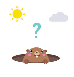 groundhog looking out of his hole flat vector image vector image