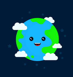 happy funny cute smiling earth character vector image vector image
