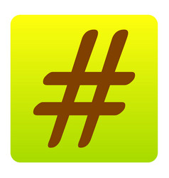 Hashtag sign brown icon at vector