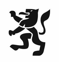 Heraldic lion black icon vector