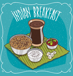 Indian breakfast with muesli or oatmeal vector