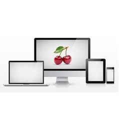 Laptop monitor tablet computer and smartphone vector