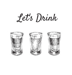 lets drink three kinds of alcoholic drinks in vector image vector image