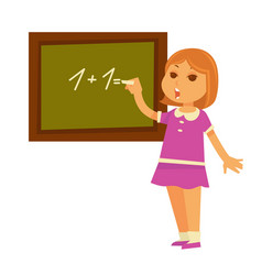 little redhead girl solves mathematical example at vector image vector image