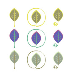 Logo leaf eco sign set vector