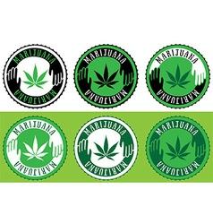 Medical cannabis leaf symbol design stamps vector image vector image