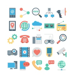 Network and communication colored icons 4 vector