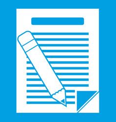 paper and pencil icon white vector image