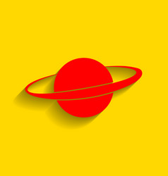 Planet in space sign red icon with soft vector