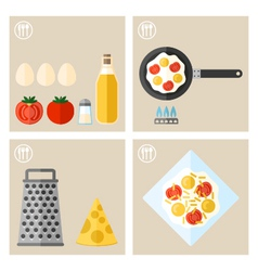 process of cooking eggs cooking and icons food vector image
