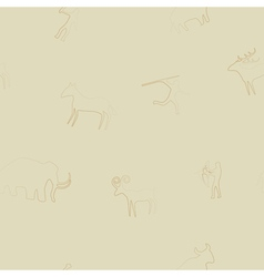 Seamless background with rock carvings vector image