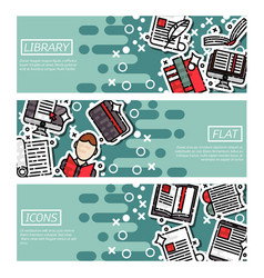 set of horizontal banners about library vector image vector image