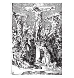The crucifixion of christ vintage vector