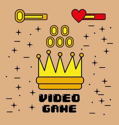 video game symbol of king crown coins element vector image