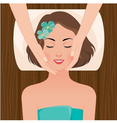Woman at the massage spa salon vector