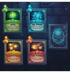 Set spell cards of nature ice fire light vector