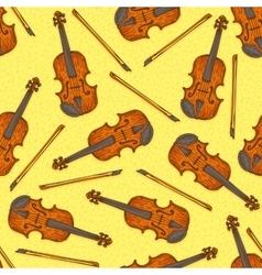 Seamless pattern with wooden fiddle or violin vector