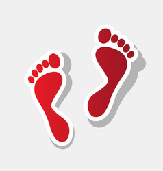 Foot prints sign  new year reddish icon vector