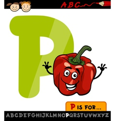letter p with pepper cartoon vector image