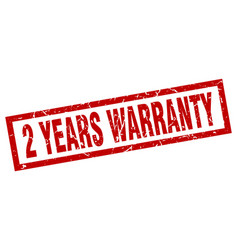 Square grunge red 2 years warranty stamp vector