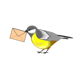 A cute titmouse with a letter in its beak vector