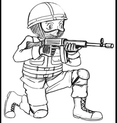 A sketch of a soldier with a gun vector