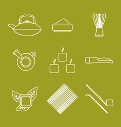 Various outline japan tea ceremony equipment icons vector