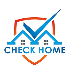 Logo check blue house illuminated vector