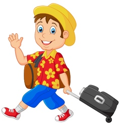 Cartoon vacation outfit man with bag vector