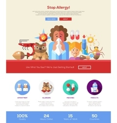 Stop allergy website header banner with webdesign vector