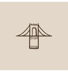 Bridge sketch icon vector