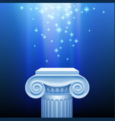 antique capital in blue light vector image