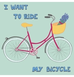 Beautiful poster with cute hand drawn city bike vector image