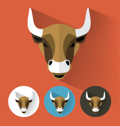 bull portrait with flat design vector image vector image