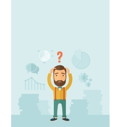 Businessman with question mark over his head vector image vector image