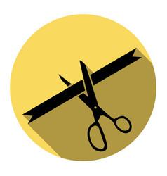 ceremony ribbon cut sign flat black icon vector image