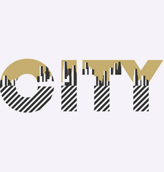 city word with geometric figures in the style of vector image vector image