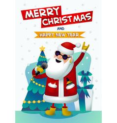 cool rock star santa singing santa claus with vector image vector image