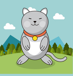 Cute cat with collar adorable landscape natural vector