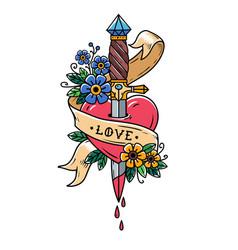 Dagger piercing heart with dripping bloodlove vector